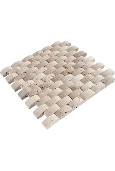 Doğal Dekor Tepe 23X48CM Dekoratif Denizli Traverten Doğal Taş Hasır Duvar Kaplama Fileli Mozaik