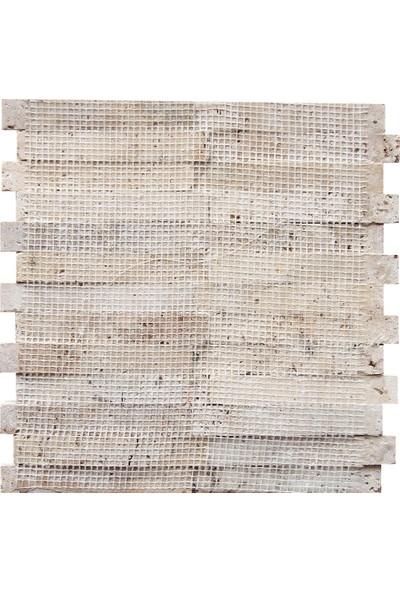 Doğal Dekor Uzun 23X145MM Traverten Patlatma Doğal Taş Dekoratif Fileli Duvar Kaplama Taşı