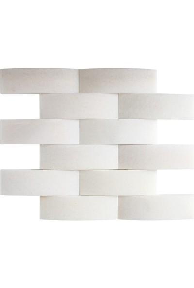 Doğal Dekor Palmiye Dekoratif Beyaz Mermer Doğal Taş Hasır Duvar Kaplama Fileli Mozaik