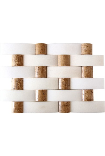 Doğal Dekor Aralya Dekoratif Noce Traverten Mermer Doğal Taş Hasır Duvar Kaplama Fileli Mozaik