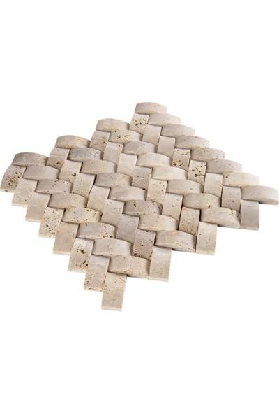 Doğal Dekor Sepet Dekoratif Klasik Traverten Doğal Taş Hasır Duvar Kaplama Fileli Mozaik