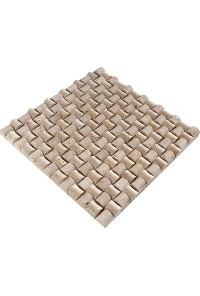 Doğal Dekor Şeker 23X23CM Dekoratif Klasik Traverten Doğal Taş Hasır Duvar Kaplama Fileli Mozaik