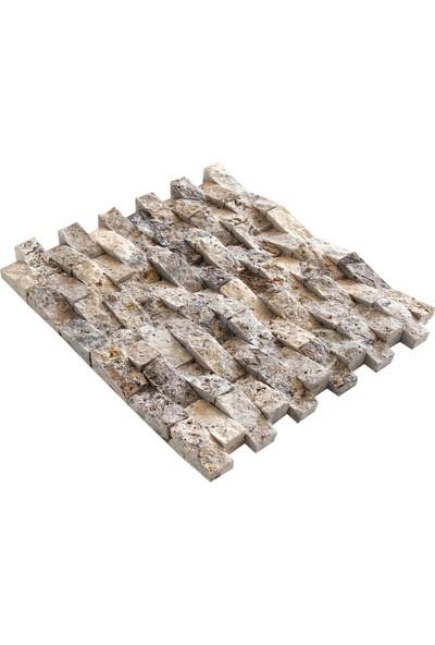 Doğal Dekor Çatı 23X48MM Dekoratif Gümüş Traverten Patlatma Doğal Taş Duvar Kaplama Taşları Fileli