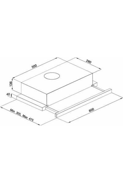 Esty 1350 x 6 Sürgülü Aspiratör İnox