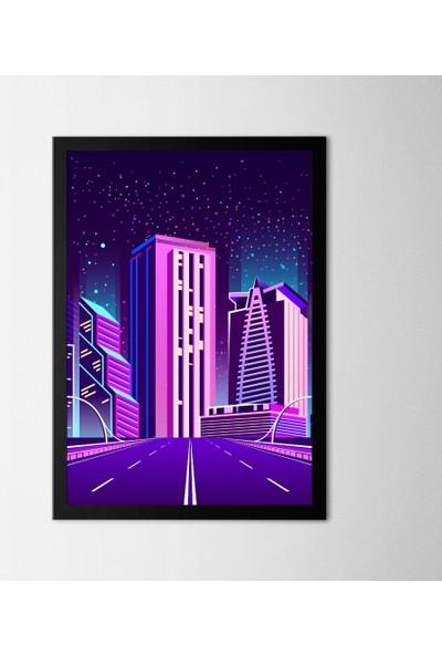 Polnight City Lights Çerçeveli Poster