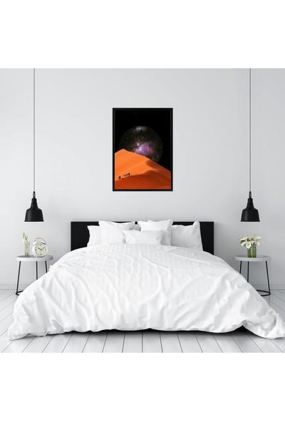 Polnight Desert Way To Galaxy Çerçeveli Poster