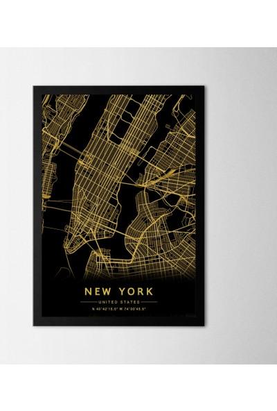 Polnight New York City Çerçeveli Poster