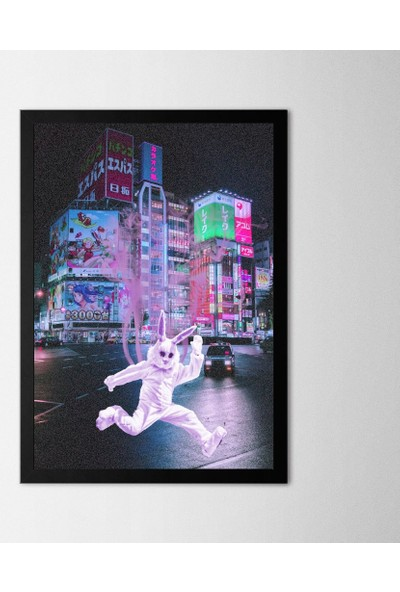 Polnight Rabbit City Çerçeveli Poster
