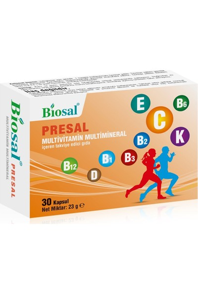 Unisex Multivitamin & Multimineral 30 Kapsül Biosal Presal