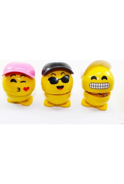 Çılgın Kafalar Araç İçi Sallanan Şapkalı Zıpzıp Emoji Kafalar 3'lü Set