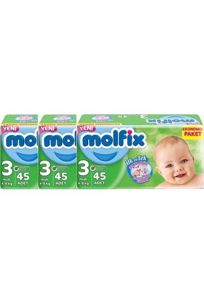 Molfix Ekonomik Paket 3 Numara 45'li x 3 Paket 135 Adet Bebek Bezi