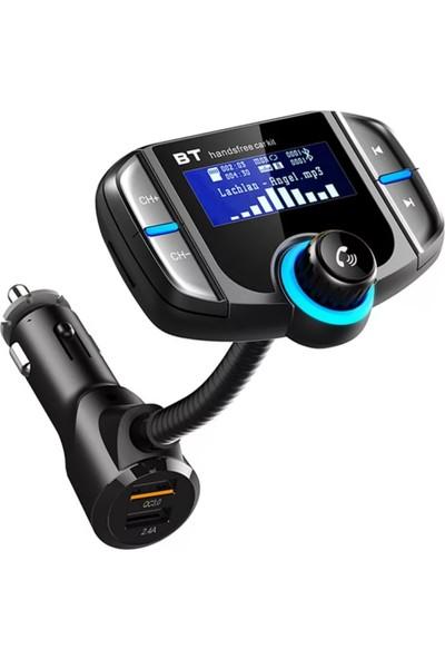 Linktech LCD Ekranlı Bluetooth Fm Transmitter Çift Şarj Çıkışlı Kumandalı Qualcomm 3,0 Destekli 4,8 Mah Hızlı Şarj Transmitter