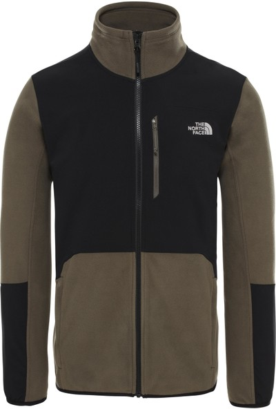The North Face Glacier Pro Fullzip Erkek Sweatshirt Siyah/Yeşil