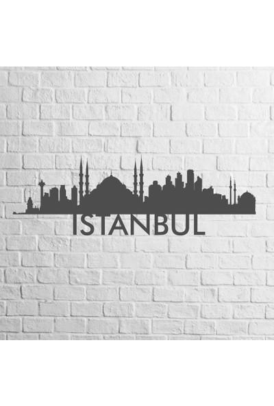 Karaçam Dekor Dekoratif Ahşap Tablo - İstanbul Silüet Lazer Kesim