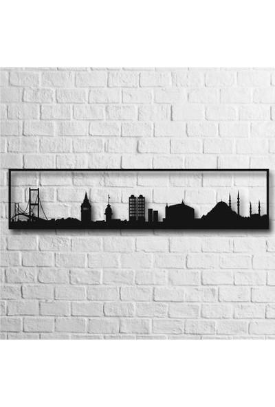 Karaçam Dekor Dekoratif Ahşap Tablo - İstanbul Silüeti Lazer Kesim