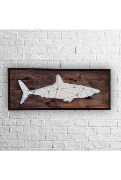 Karaçam Dekor Dekoratif Eskitme Çam Ağacı - Oyma Köpekbalığı Silüeti Tablo