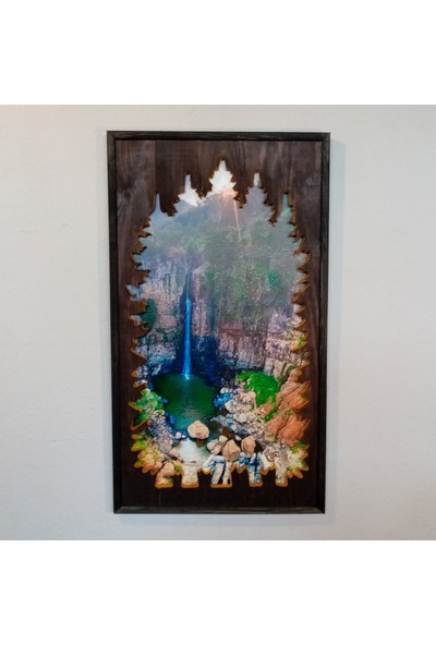 Karaçam Dekor Dekoratif Eskitme Çam Ağacı - Oyma Manzara Silüeti Tablo