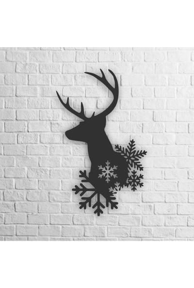 Karaçam Dekor Dekoratif Ahşap Tablo - Kar Altında Geyik Lazer Kesim