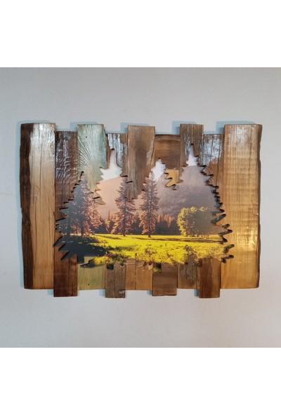 Karaçam Dekor Dekoratif Doğal Eski Çam Ağacı - Oyma Silüet Çam Manzara