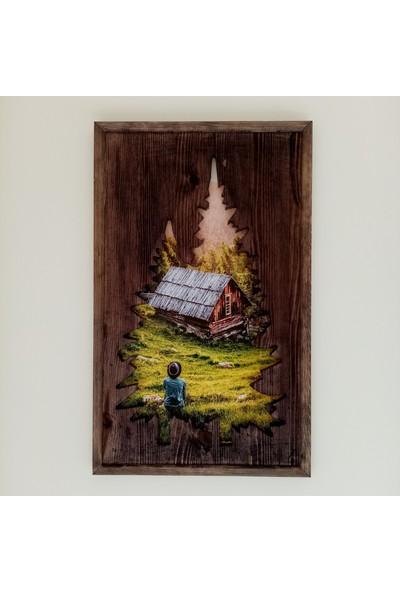 Karaçam Dekor Dekoratif Eskitme Çam Ağacı - Oyma Silüet Ağaç Silüeti Tablo