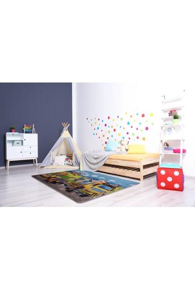 Caricia - Construction Erkek Çocuk Odası Halısı Dijital Baskı Lateks Dolgu Taban 120 x 180 cm CH-100610