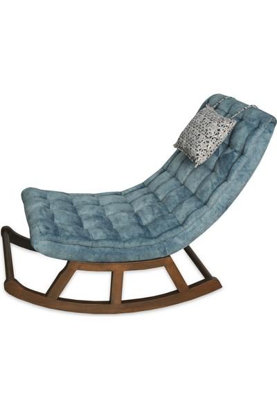 Asedia Teksas Miskin Ceviz-Mavi Sallanan Sandalye