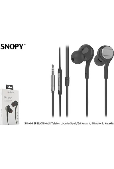 Snopy SN-X04 Epsilon Telefon Uyumlu Siyah/Gri Kulak İçi Mikrofonlu Kulaklık