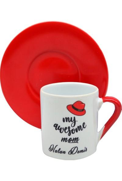 Nobby Star Kişiye Özel Isimli Kırmızı Kahve Fincanı ve Tabağı