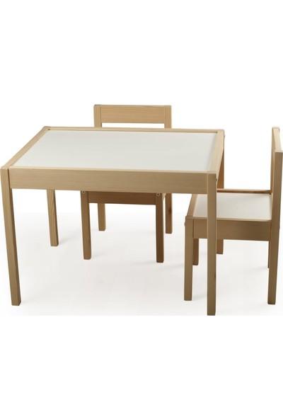 Picaline Yaz Sil Ahşap Oyun Masa ve Sandalyeleri 1 Masa 2 Sandalye