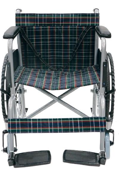 Mor Medikal Tekerlekli Sandalye Katlanır Ekose Döşemeli