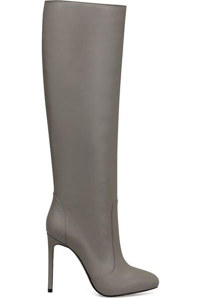 Nine West Tana Gri Kadın Topuklu Çizme