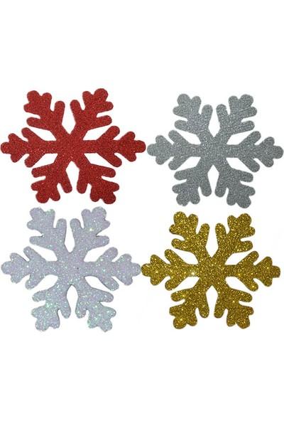 Acarim Yılbaşı Köpük Cam Kapı Süsü Kar Tanesi 4'lü 11 cm