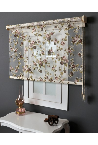 Aniper Çift Mekanizmalı Çiçek Desenli Tül Stor Perde 80x200 cm