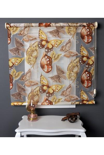 Aniper Çift Mekanizmalı Kahve Kelebek Desen Tül Stor Perde 80x200 cm