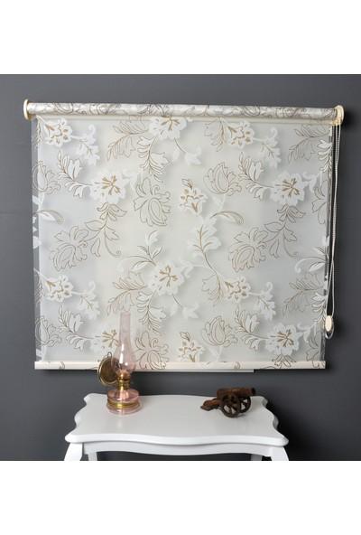 Aniper Çift Mekanizmalı Kahve Kırık Beyaz Çiçek Desen Tül Stor Perde 70x200 cm
