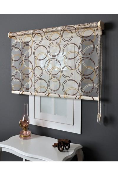 Aniper Çift Mekanizmalı Kahve Krem Sarı Geometrik Desen Tül Stor Perde 80x200 cm