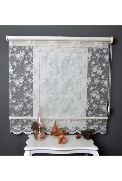 Aniper Çift Mekanizmalı Kırık Beyaz Çiçek Desen Tül Stor Perde 100x200 cm