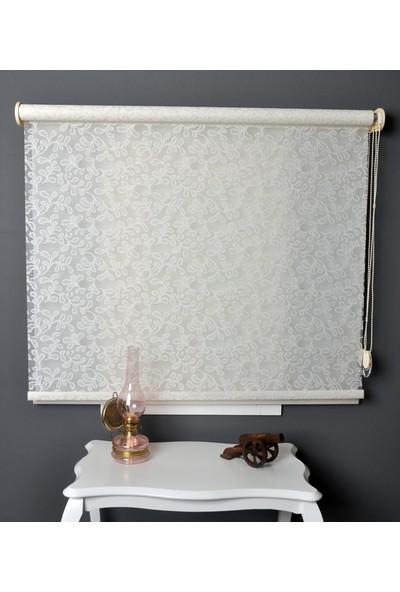 Aniper Çift Mekanizmalı Kırık Beyaz Simli Yonca Desen Tül Stor Perde 100x200 cm