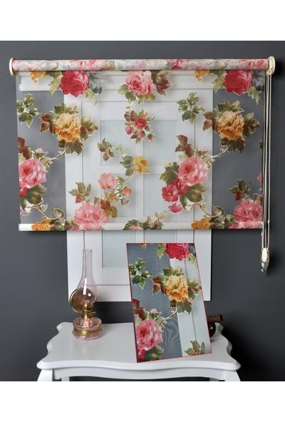 Aniper Çift Mekanizmalı Sonbahar Çiçek Desen Tül Stor Perde 70x200 cm