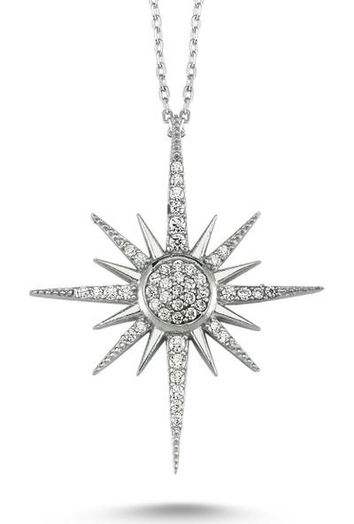 İnci Gümüş Taşlı Kutup Yıldızı Gümüş Kolye - Inci Gümüş