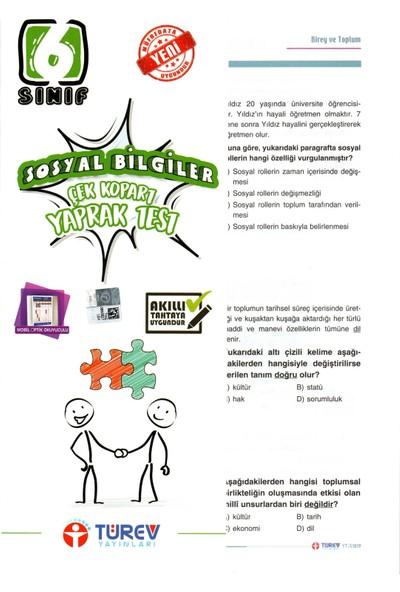 Türev Yayınları 6. Sınıf Sosyal Bilgiler Çek-Kopar Yaprak Test