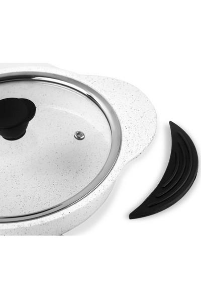 Taç 3398 Granit Plus Tak/çıkar Silikon Saplı 3lü Sahan Seti Beyaz