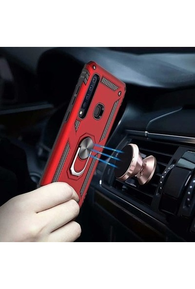 Kaltel Gsm Samsung Galaxy M10 Tank Kılıf Yüzüklü Standlı Ultra Korumalı Manyetikli Vega Kapak + Cam Ekran Koruyucu Kırmızı