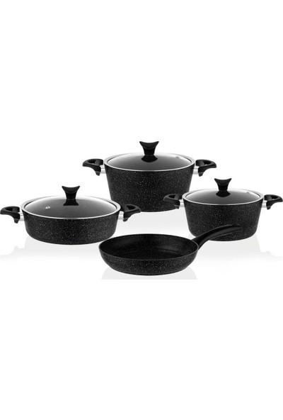Taç 3455 Master Cook 7 Parça Granit Tencere Seti Siyah