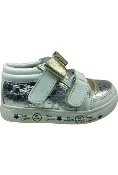 Raduno Bebe Kız Çocuk Spor Ayakkabı Beyaz - Doreli Dore Taşlı Fiyonklu Cırtlı