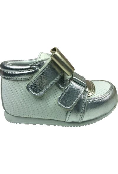 Raduno İlk Adım Kız Çocuk Bot Ayakkabı Beyaz - Gümüş Cırtlı