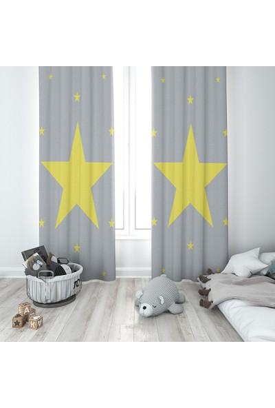 Karnaval Sarı Yıldız Fon Perde - Sol Kanat
