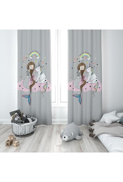 Karnaval Deniz Kızı ve Unicorn Fon Perde - Sağ Kanat