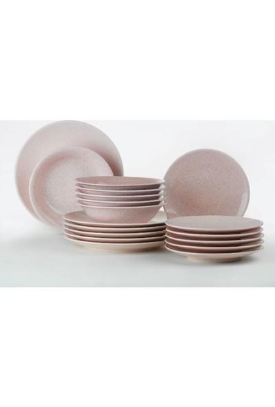 Kütahya Porselen Harlek Granül 18 Parça Pembe Yemek Seti