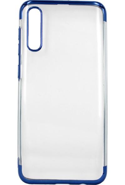 Case 4U Samsung Galaxy A50 Kılıf 4 Köşeli Renkli Lazer Silikon Arka Kapak - Glitter Mavi